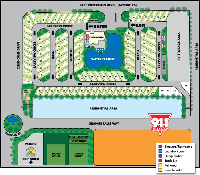 The Lakes RV & Golf Resort Park Map